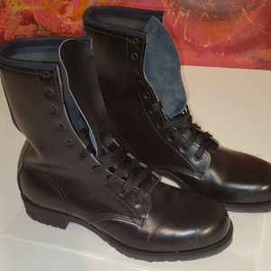 Mens black high lace boots